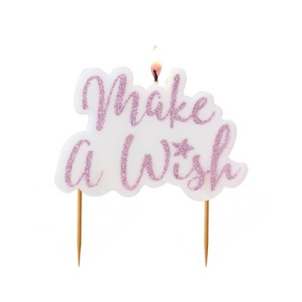 Make a Wish Pink Glitter Birthday Candle